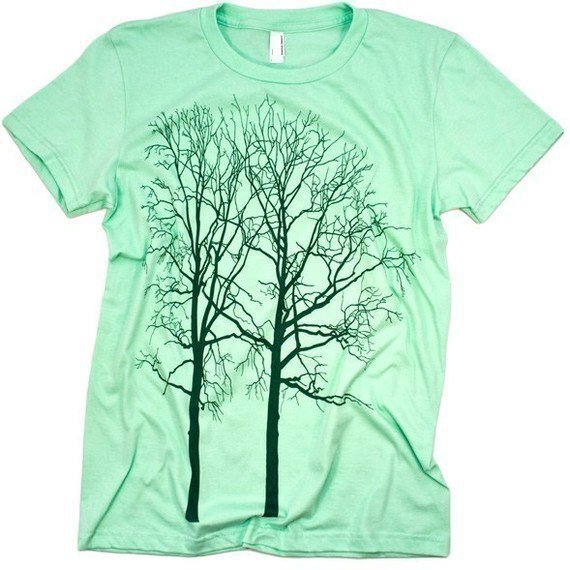 Cool Trees Tee Graphic WOMENS Tshirt Lime by CritterJitters