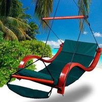 New MTN Deluxe Beach Wood Hammock Swing Lounge Chair w/Footrest Cup holder Green: Patio, Lawn & Garden