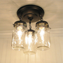 Vintage Mason Jar CEILING LIGHT Trio