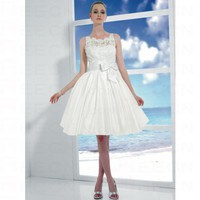 Romantic Baby Doll Bateau Taffeta Sash Lace Wedding Dress Style T446