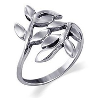 Sterling Silver 23mm Wide Cute Ivy Leaf Design Polished Finish 2mm Wide Band Ring Size 4, 5, 6, 7, 8, 9, 10: Jewelry