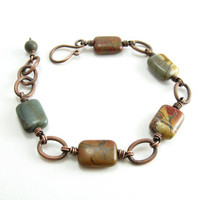 Jasper Gemstone Copper Bracelet Red Cherry Creek Jasper Unisex Bracelet