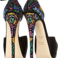 Swarovski crystal-embellished satin pumps