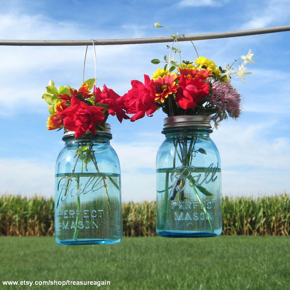 Blue Mason Jars Wedding Ideas: 2 Hanging Mason Jars Vases With Flower From Treasureagain