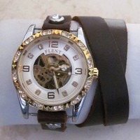 Luxury Lady Women Automatic Crystal Gold Leather Wrap Watch FREE SHIPPING