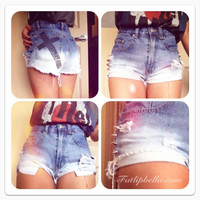 denim Ombre with black cross and spikes vintage high waist frayed shorts