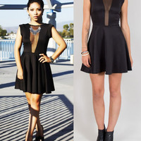 SEXY BLACK MESH FRONT CUT OUT SHEER OPEN BACK SKATER SHORT SLEEVE DRESS