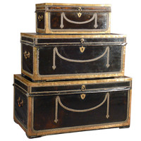 Set of 3 Leather &amp; Camphor Wood Officer&#x27;s Trunks circa 1800 England
