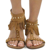 Barrington Tan Fringe Studded Ankle Sandals