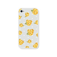 Yellow and Grey Floral iPhone 4 Case - Plastic iPhone 4 Skin - iPhone 4 Cover  - Cell Phone Flower iPhone Case