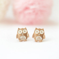 Baby Owl earrings by laonato on Etsy