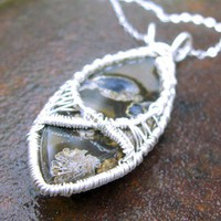 Blue Eye Crying Pendant Necklace Sterling, Fine Silver Saginite Agate