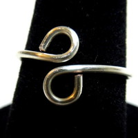 Silver Plated Infinity Pinky Wire Wrapped Loop Adjustable Ring