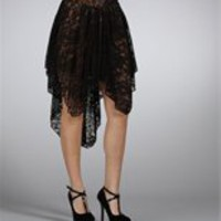 Black/Nude Floral Lace Skirt