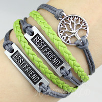 Silvery Best Friend Bracelet Wishing Bracelet Gray Rope Bracelet Leather Bracelet Best Gift For Friend-N1124