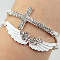 Silvery Diamonds Bracelet Angel&#x27;s Wing Bracelet Cross Bracelet Charm Bracelet Fashion Bracelet Gift -N1120