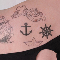 a'hoy matey nautical tattoo pack 5 temporary tattoos by pepperink