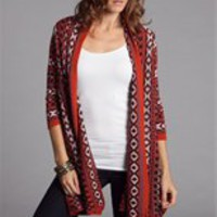 Sale-Orange Southwest Print Knit Open Cardigan