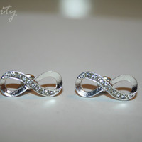 Infinity Stud Earrings with rhinestones