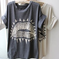 Lips Pattern Roll Sleeve T-shirt