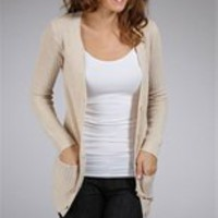 Beige Knit Essential Cardigan