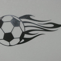 Flaming Soccer Ball 16 Gauge Metal Wall Art Hanging