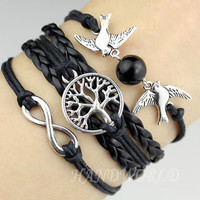Fashion Bracelet Tree of life Bracelet Silvery Karma Bracelet Lover Birds Bracelet Pearl Jewelry Bracelet-N1135