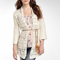 Decree® Belted Cardigan, Knit Detail W2184         : juniors : best prices : jcpenney