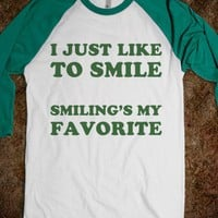 Buddy the Elf Loves to Smile - Text First - Skreened T-shirts, Organic Shirts, Hoodies, Kids Tees, Baby One-Pieces and Tote Bags