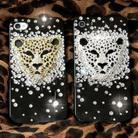 DIY 3D Gold Leopard Bling Bling Cell Phone Case Flat back Deco Kit / Set -- lovekittybling