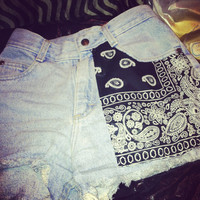 Bandana jean shorts by lovendgunz on Etsy