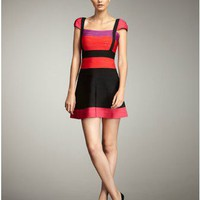 Herve Leger Colorblock Flare Bandage Dress 