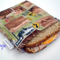 Reusable Sandwich Bag Large 7x7 Post Card Travels by Bloomingdeals.etsy.com