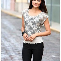 FLORAL LACE SMOCKED TOP