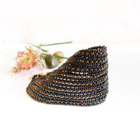 Fantasy Glamour Black Bead woven Cuff / Bracelet by CallOfEarth