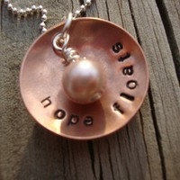 HOPE Floats handstamped copper and silver necklace with creamy pink pearl inspirational