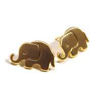 Elephant Earrings: Gold