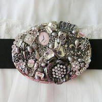 Women's Belt Buckle, Vintage Belt Buckle, Collage Belt Buckle