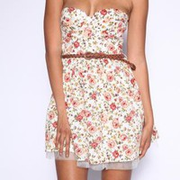 Strapless Floral Print Belted Dress with Mesh Hem Detail