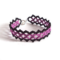 Gothic Lace Bracelet in Tatting by TataniaRosa