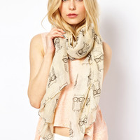 New Look Geeky Owl Scarf at asos.com