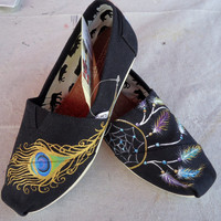 Peacock Feather &amp; Dreamcatcher TOMS by LamaLand on Etsy