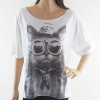 Cat Glasses Cat Design Bat Sleeve Women T-Shirt Front Short Than White Short Sleeve T-Shirt Oversize Screen Print Size L