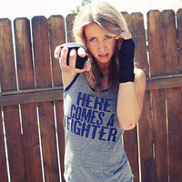 Here Comes a Fighter EcoHeather Workout by FiredaughterClothing