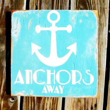 Typography Wall Art Anchors Away Wood Sign by 13pumpkins on Etsy