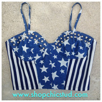 Studded Bustier Crop Top - Denim Stars &amp; Stripes - Silver Cone Studs -