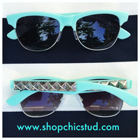 Studded Sunglasses- Mint- Silver Studs