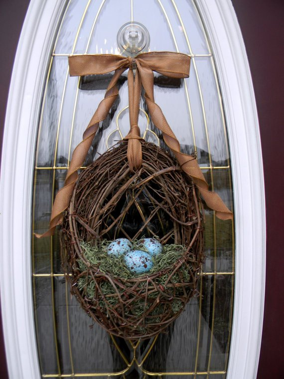 Spring Easter Grapevine Door Wreath Basket by AnExtraordinaryGift