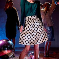 Stretch taffeta A-line Polka Dot Skirt