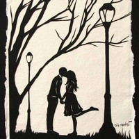 Autumn Kiss HandCut Silhouette Papercut by tinatarnoff on Etsy